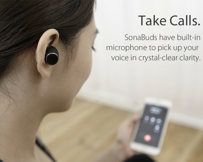 SonaBuds: Smallest Stereo Earbuds w HD Audio & Mic-GadgetAny