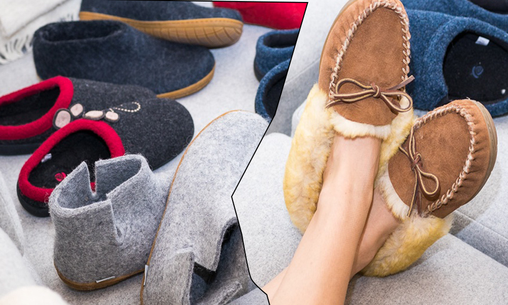 Suede moc-style slippers