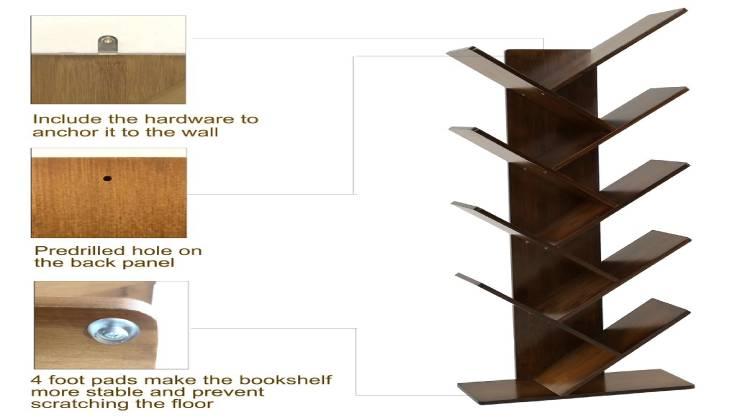 UNICOO Bamboo Tree Shelf Bookcase-GadgetAny