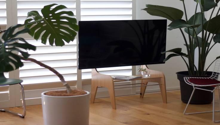 Wood Oak Floor TV Stand By Zeitgeist-GadgetAny