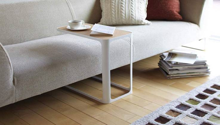 YAMAZAKI White Compact Tower Side Table-GadgetAny